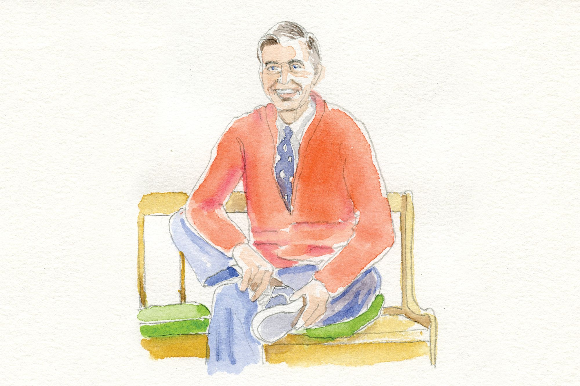 Illustration of Mister Rogers putting on his shoes.