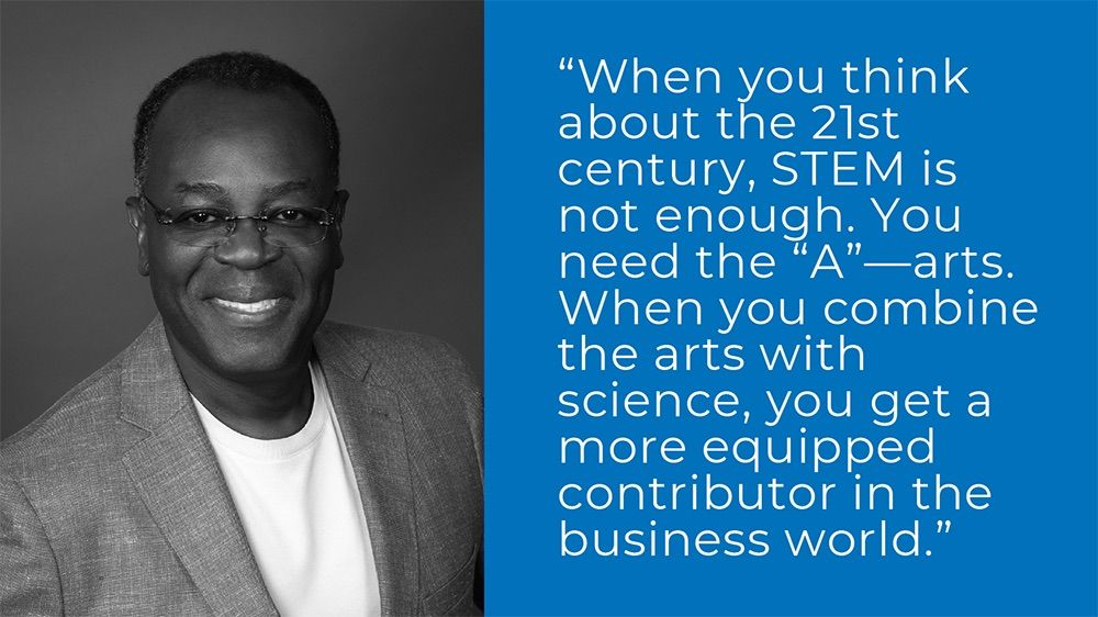 """""""When you think about the 21st century, STEM is not enough. You need the 'A' -- arts. When you combine the arts with science, you get a more equipped contributor in the business world."""" - Rod Adkins '81"""