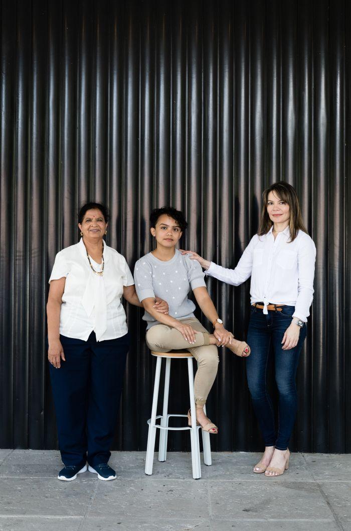 Cristina Toppin '21 with her mother and Jayashree Shivamoggi.