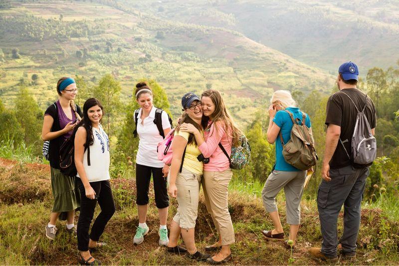 Rollins students on a field study in Rwanda.