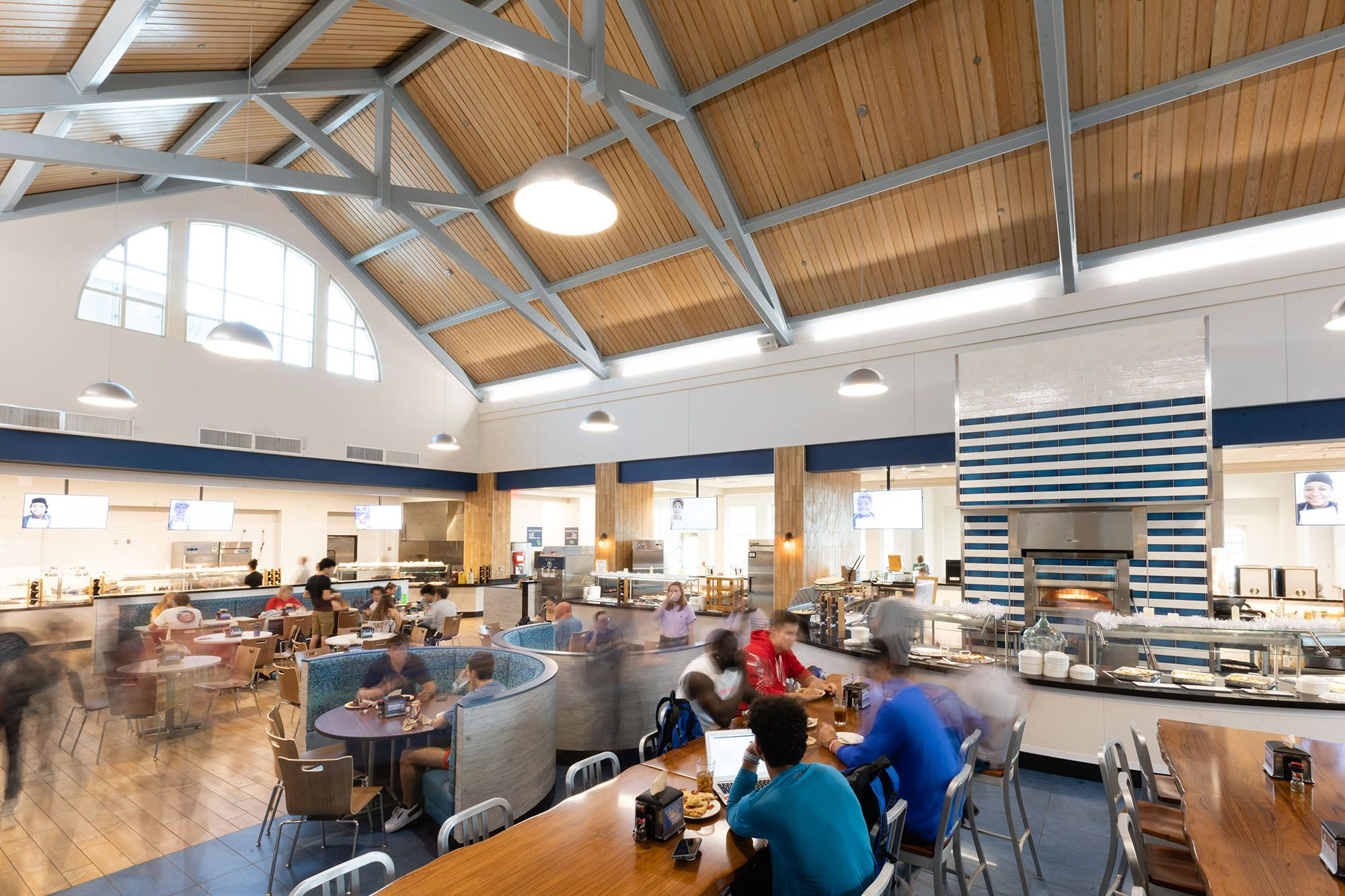 Students dining in the main marketplace, Skillman Dining Hall.