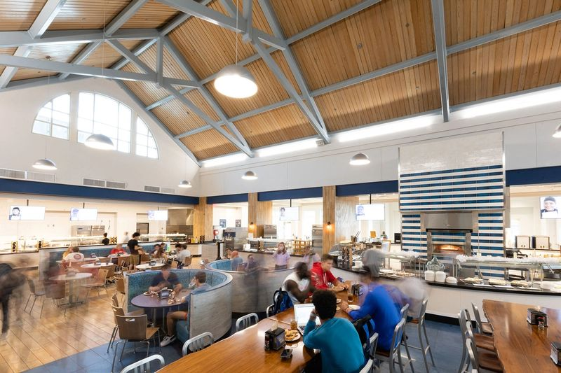 The interior of the Marketplace, campus' main dining hall.
