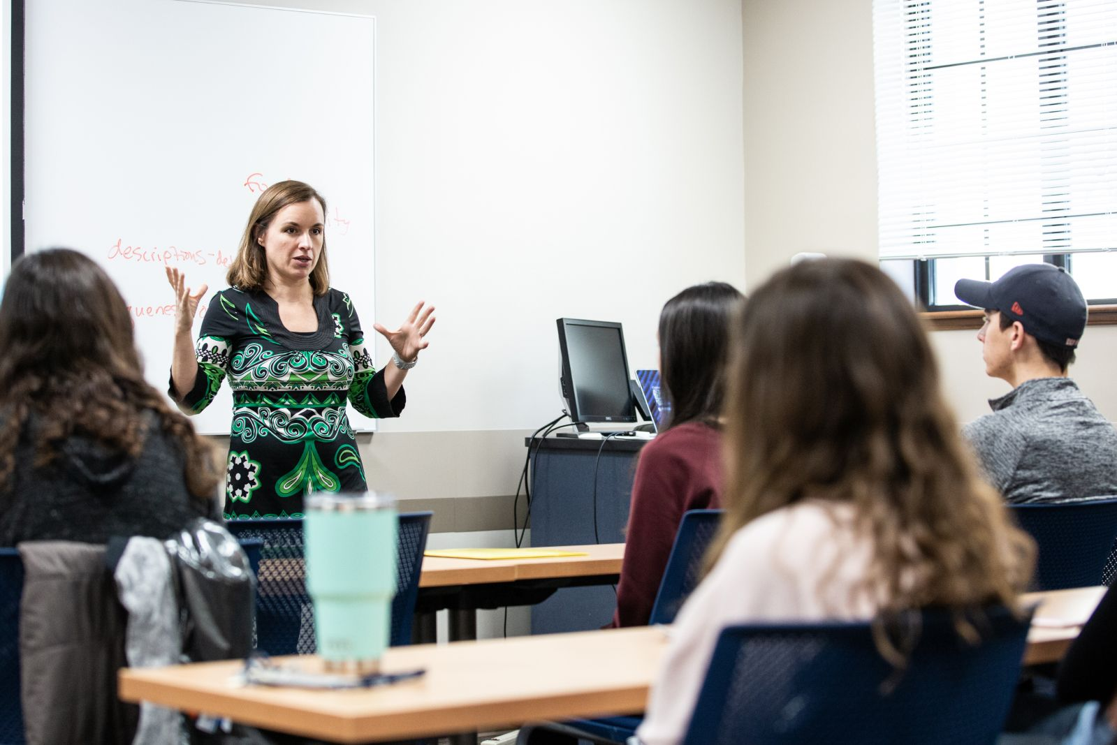 Anthropology professor Rachel Newcomb lectures students.
