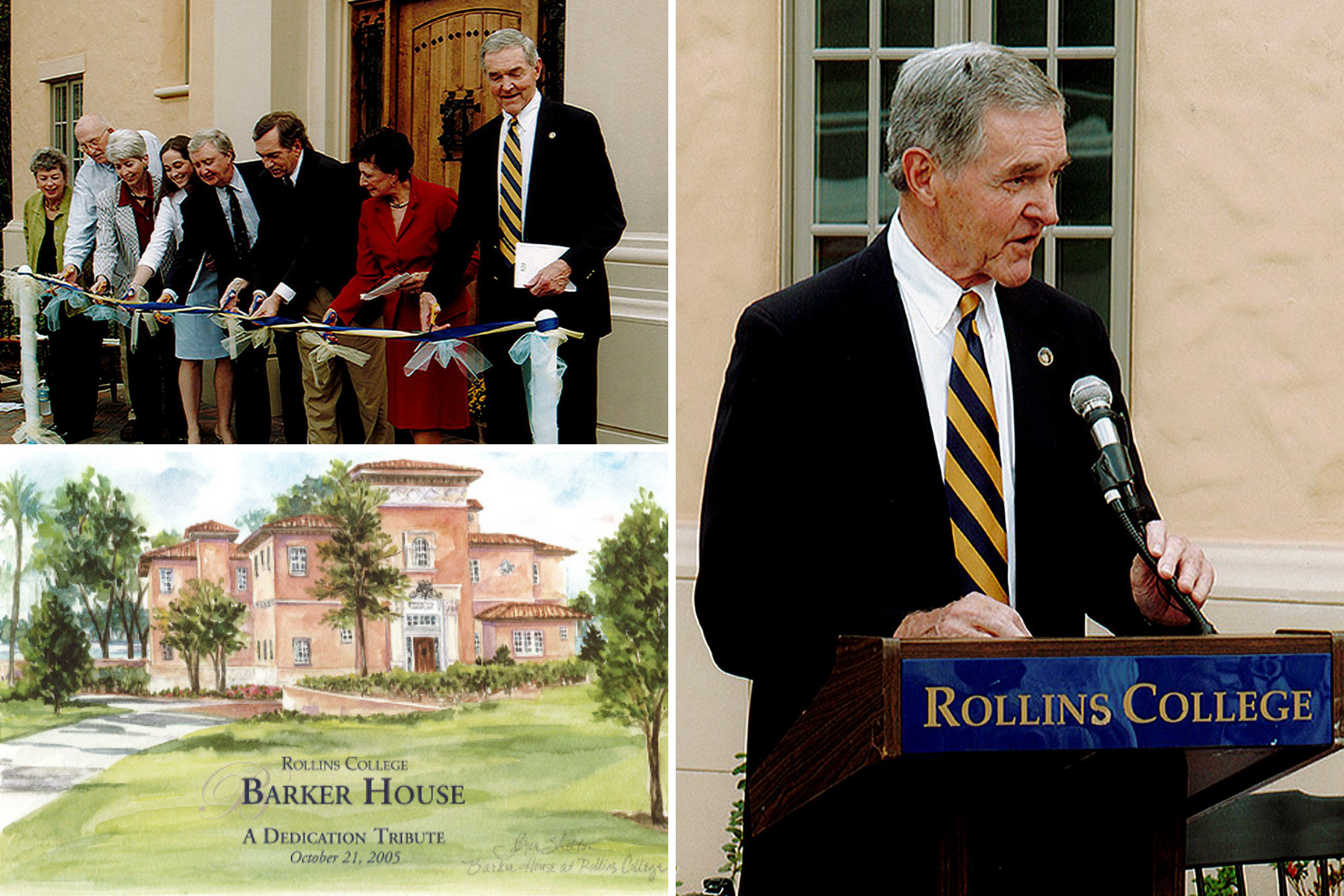 The dedication on campus of the Barker House, named after Frank Barker, where the Rollins president and his family live.