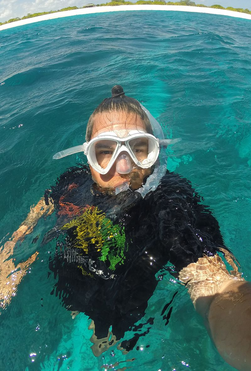 Angelo Villagomez '04 on a snorkeling trip in the Pacific.