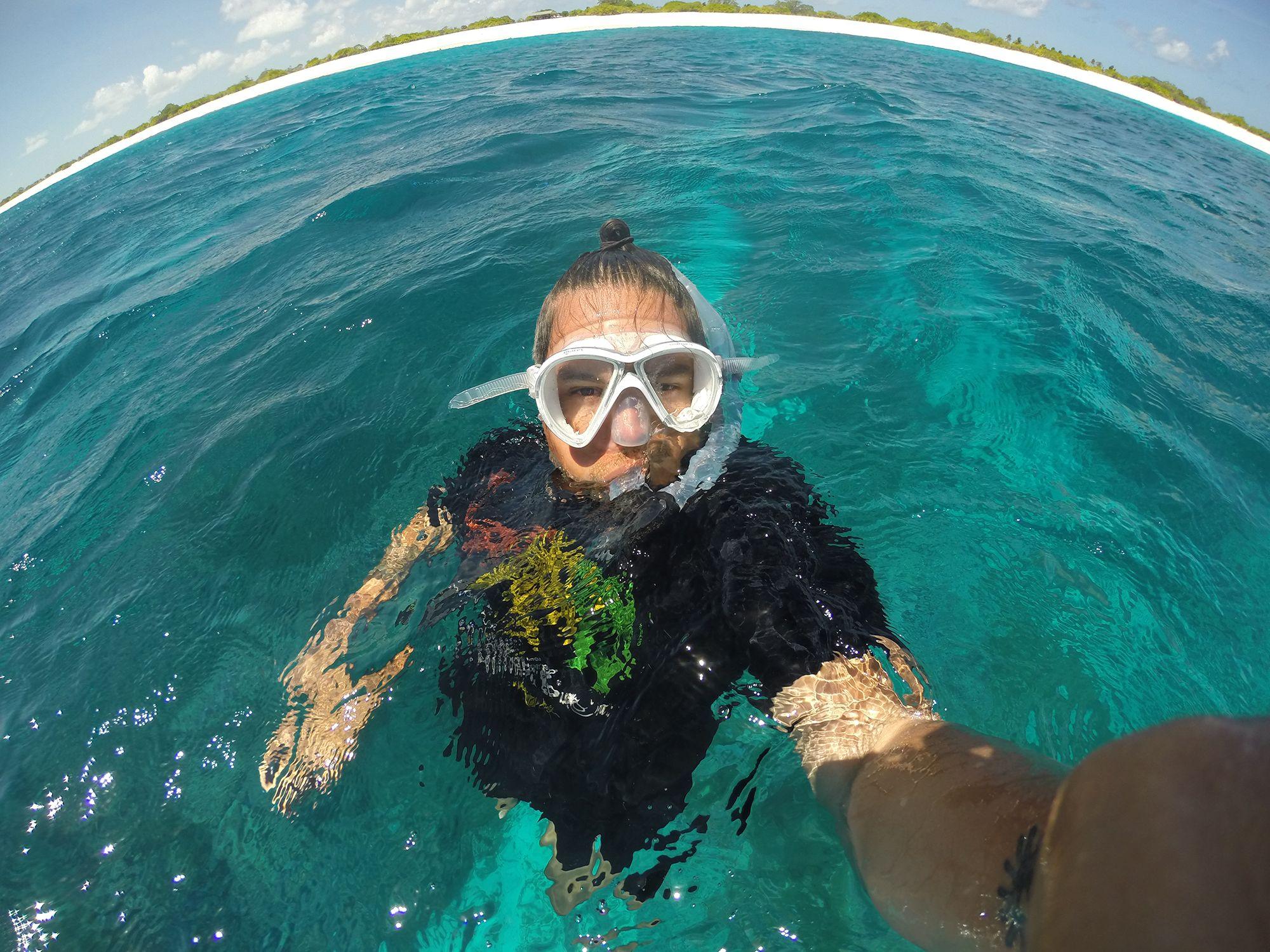 Angelo Villagomez '04 snorkeling