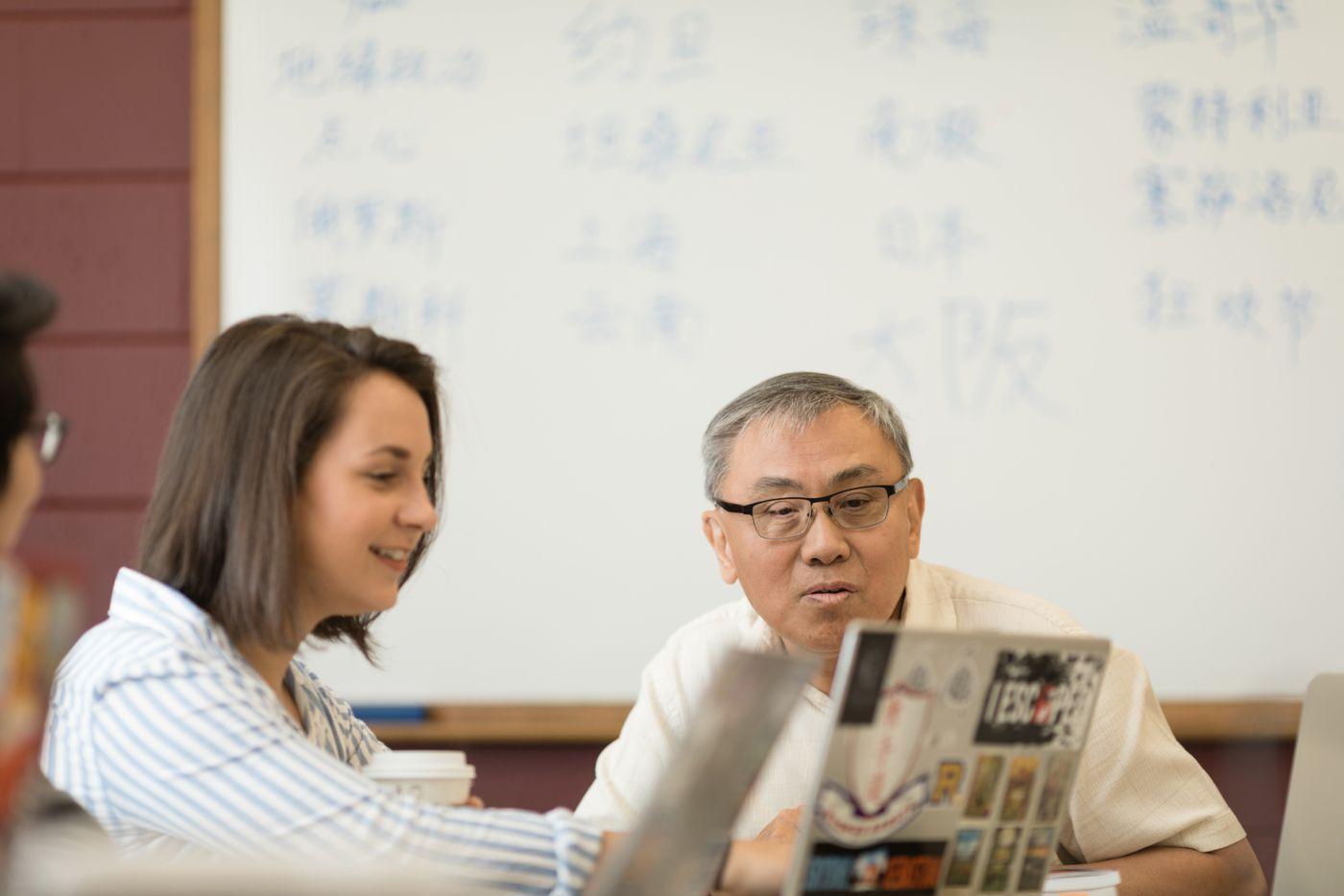 Karina Barbesino '19 and professor Li Wei.