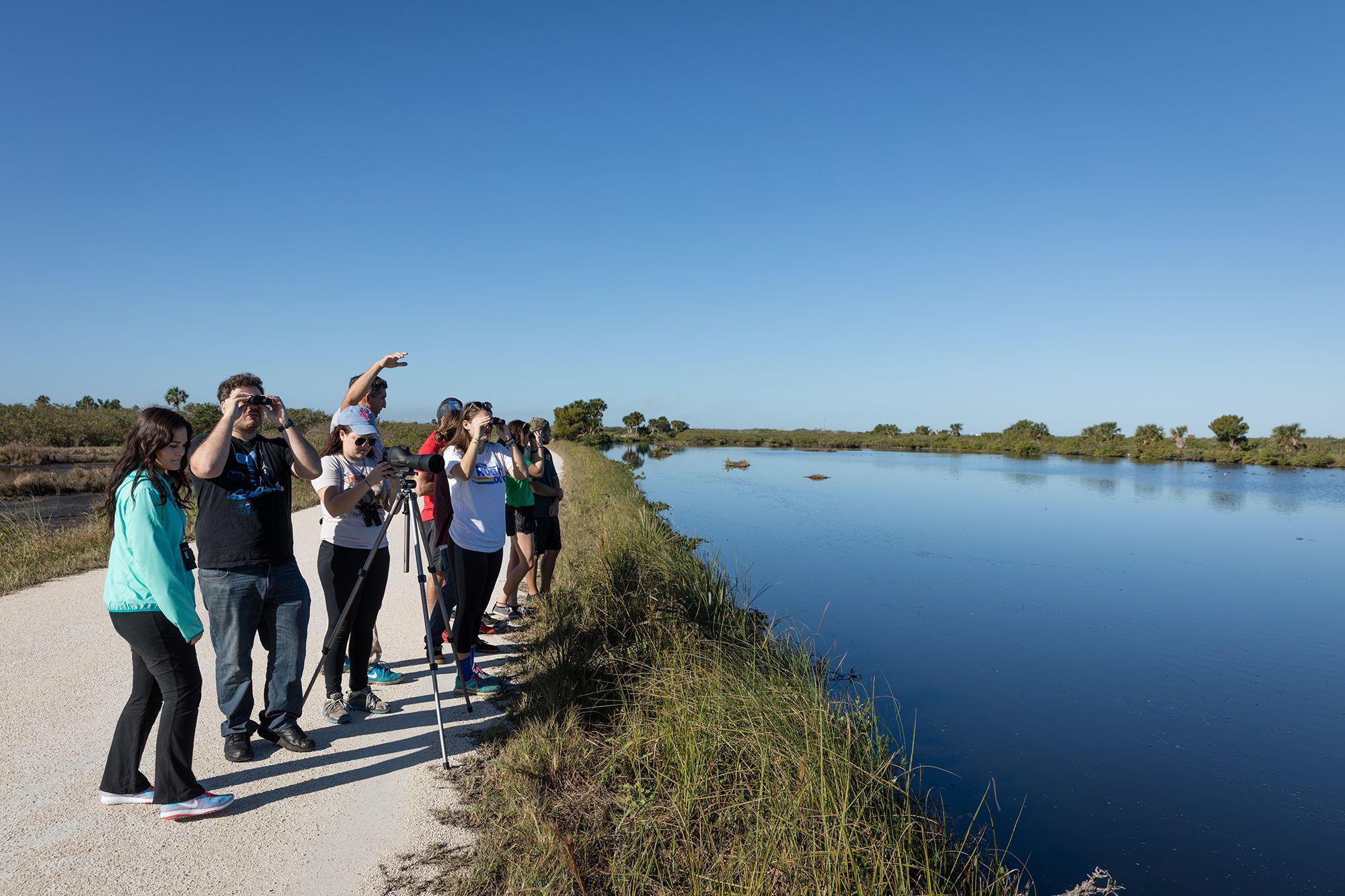 Rollins students on a field study in Merritt Island, Florida.