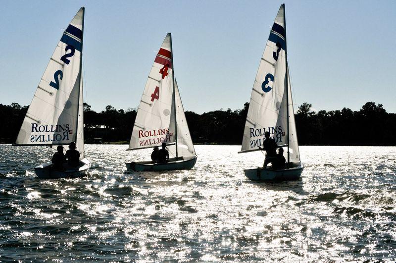 Students in sailboats on Lake Virginia.