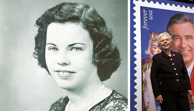 Joanne Rogers pictured in her yearbook photo at Rollins College in 1950 and in front of the commemorative stamp designed for her husband, Fred Rogers.