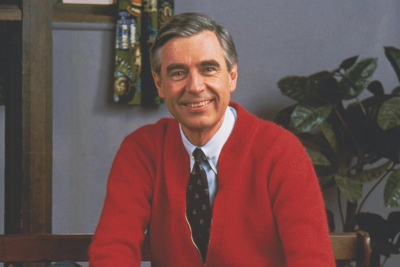 Fred Rogers on the set of Mister Rogers Neighborhood