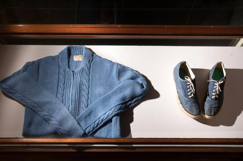 Mister Rogers' sweater and shoes at Rollins Olin Library.