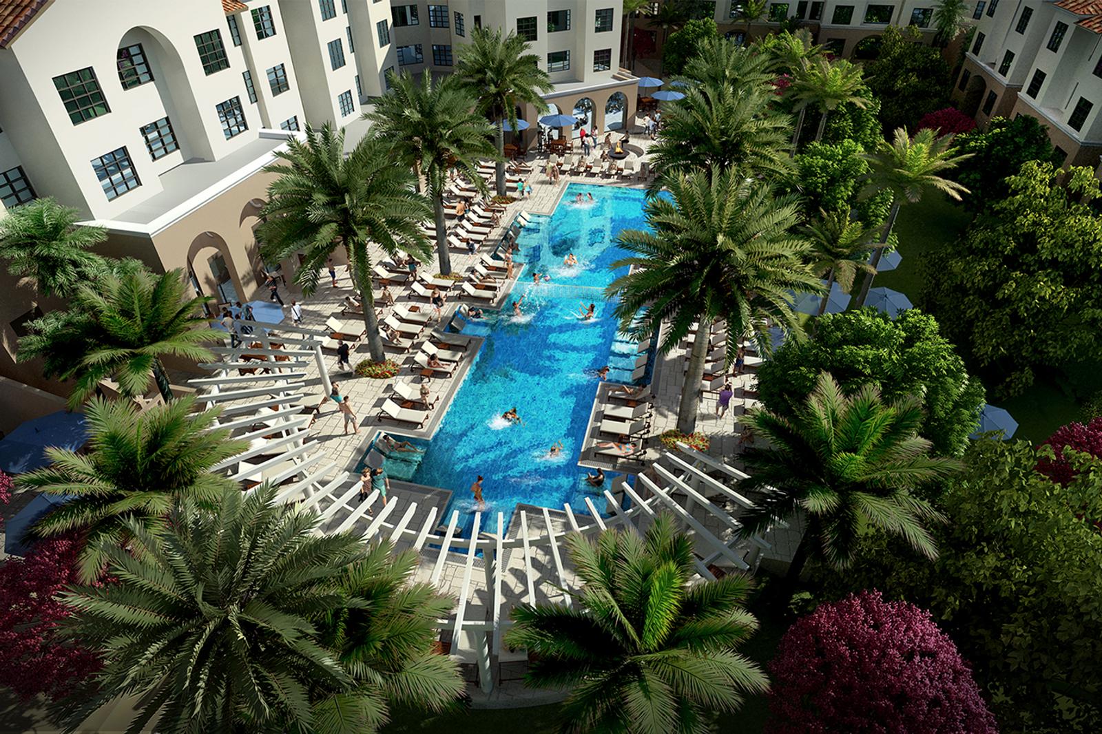 Aerial rendering of pool at Lakeside.