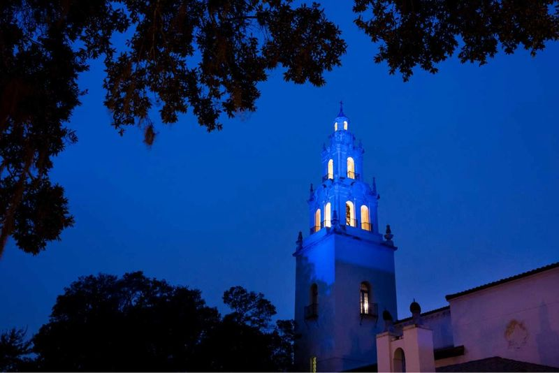 A picture of Knowles Memorial Chapel at night.
