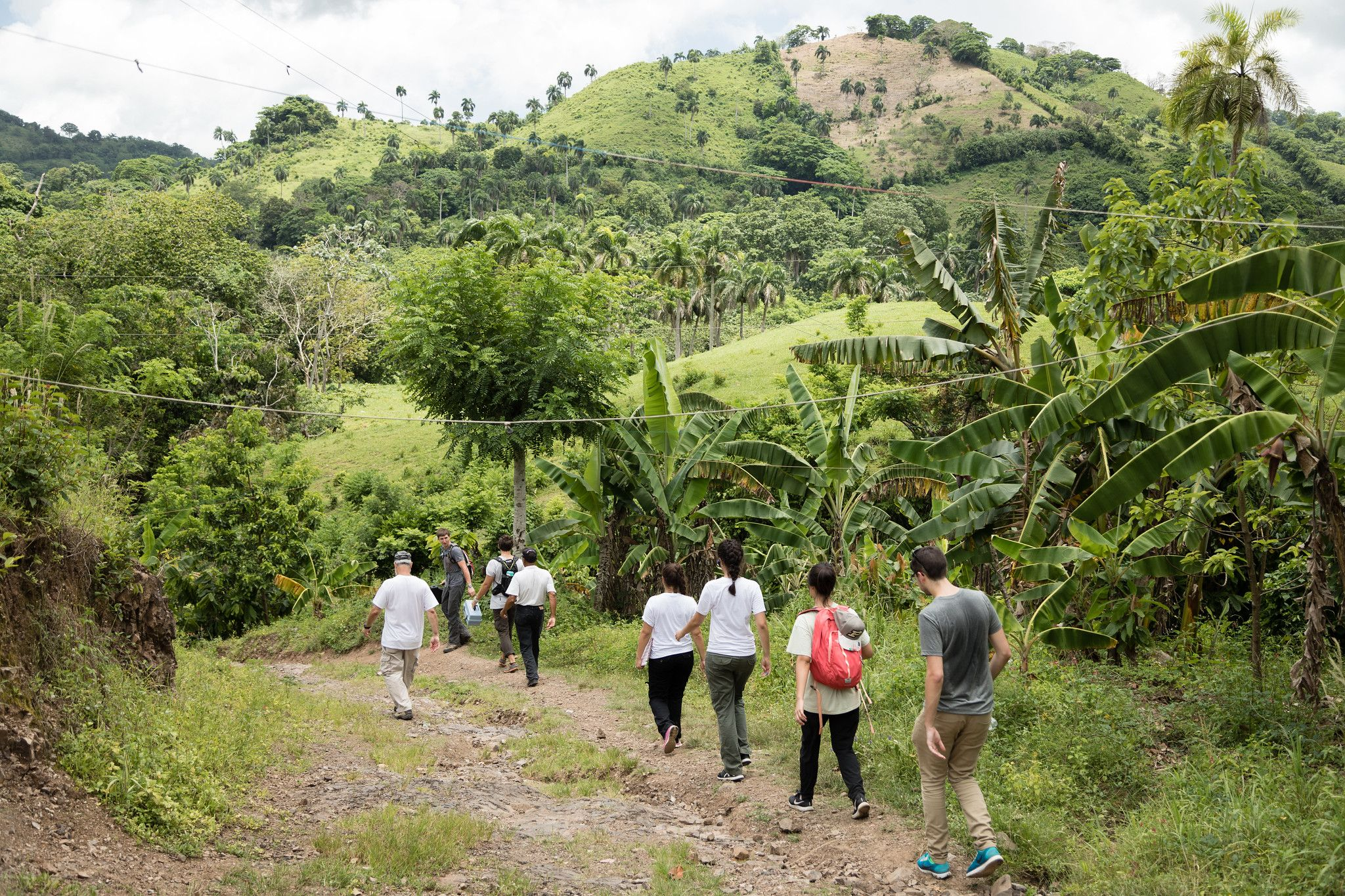 Students hike through the rural countryside in the Dominican Republic.