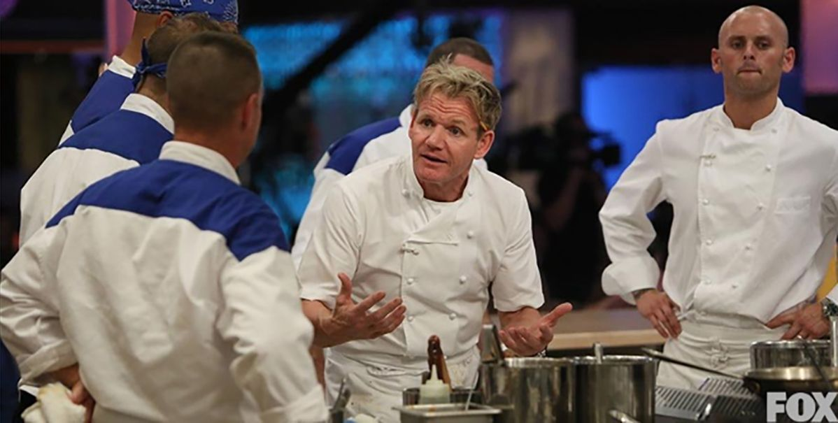 James Avery with Gordon Ramsey and others on the set of Hell's Kitchen.