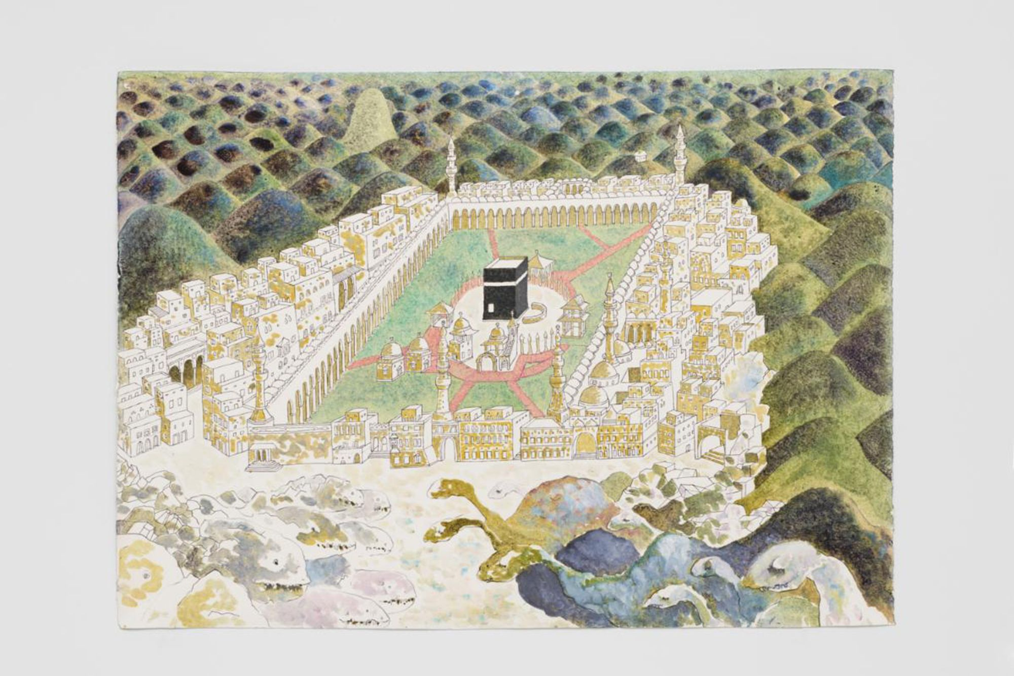 Wael Shawky, (Egyptian, b.1971), The Gulf Project Camp: Drawing #1, 2019, Graphite, ink, oil mixed media on cotton paper, The Alfond Collection of Contemporary Art at Rollins College, Gift of Barbara '68 and Theodore '68 Alfond. 2019.2.11.