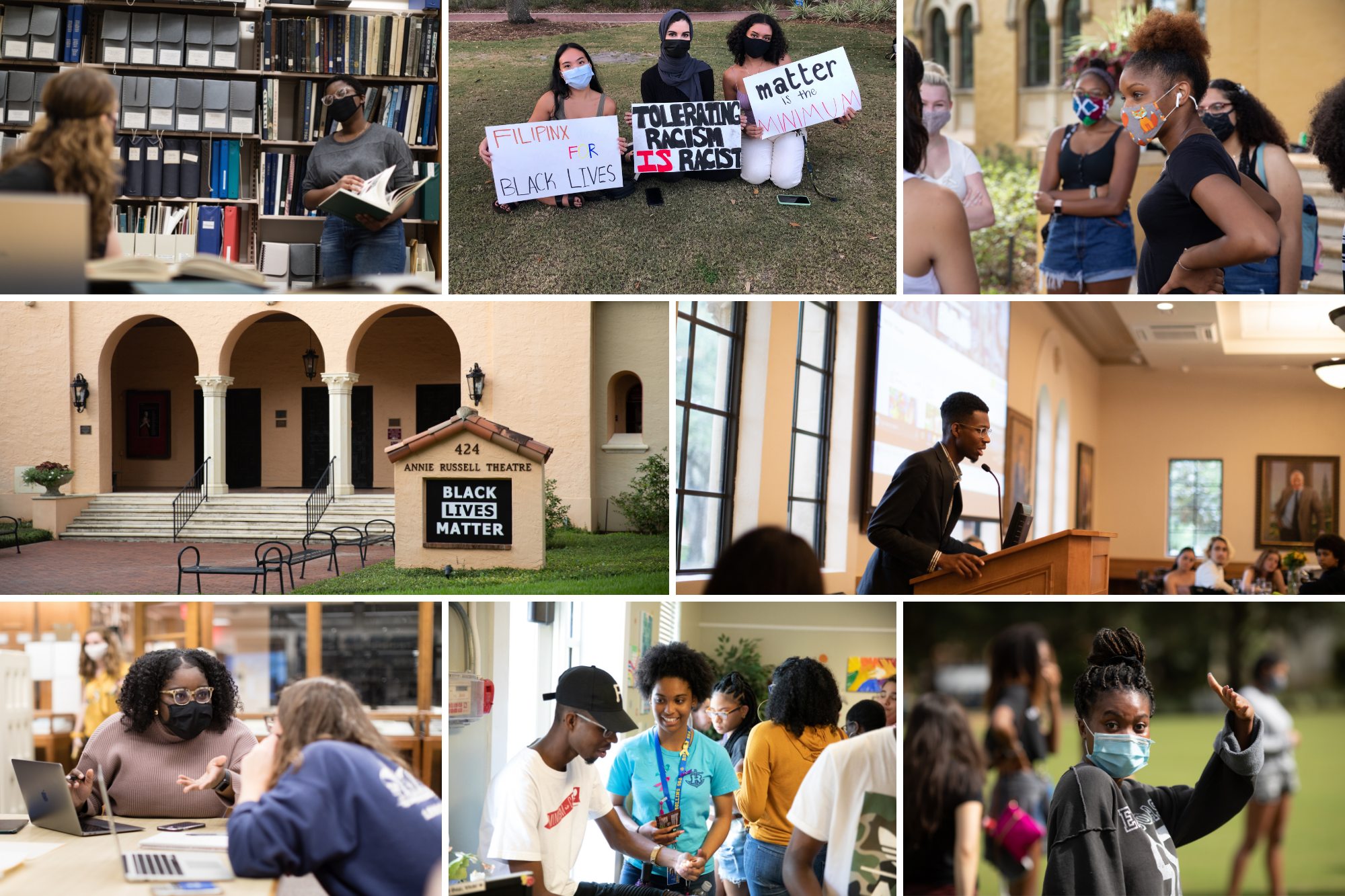 A grid of images depicting Black students engaged on campus and in our community.
