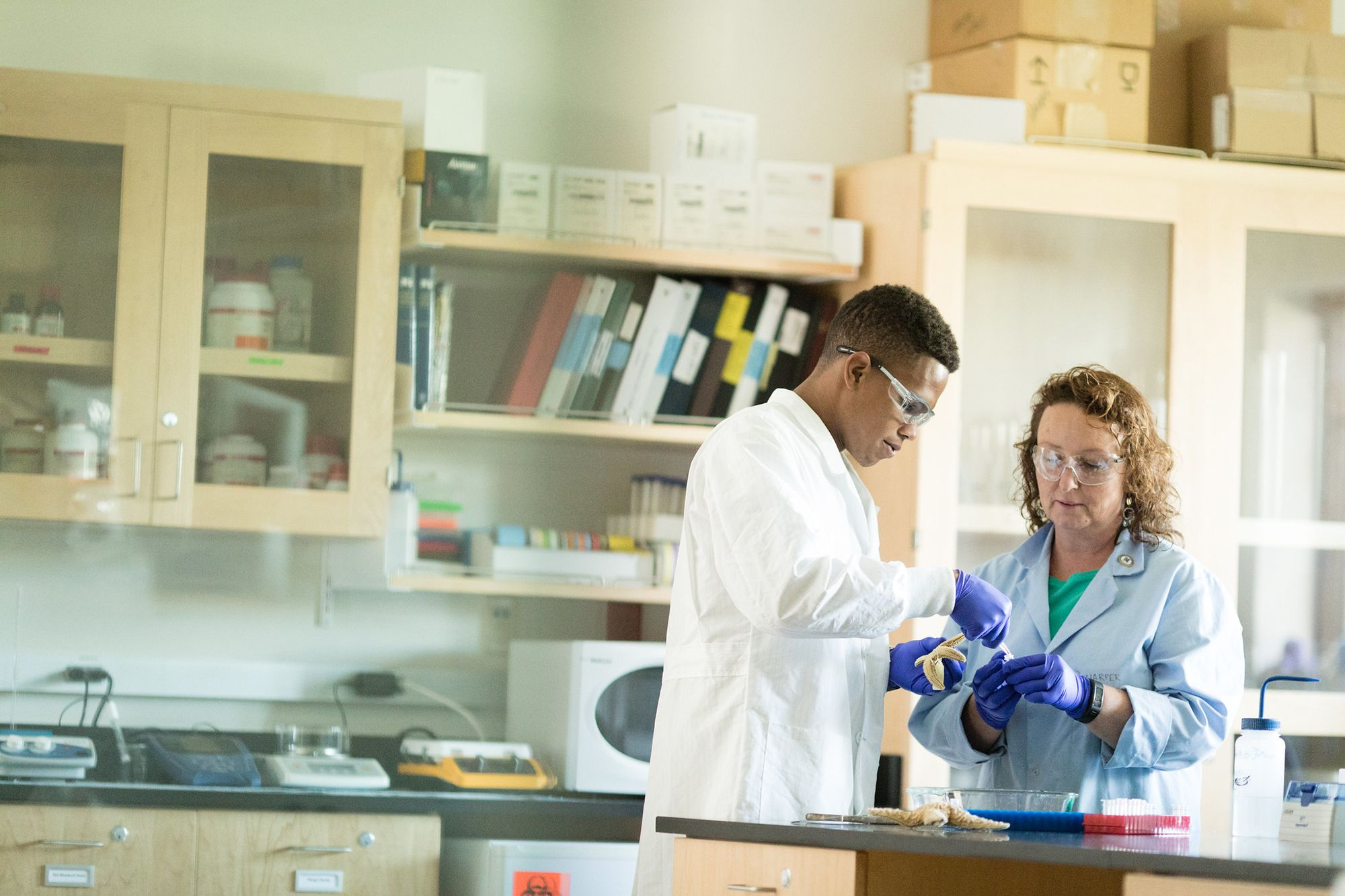 Marine biology professor helping a student in the lab wearing PPE.