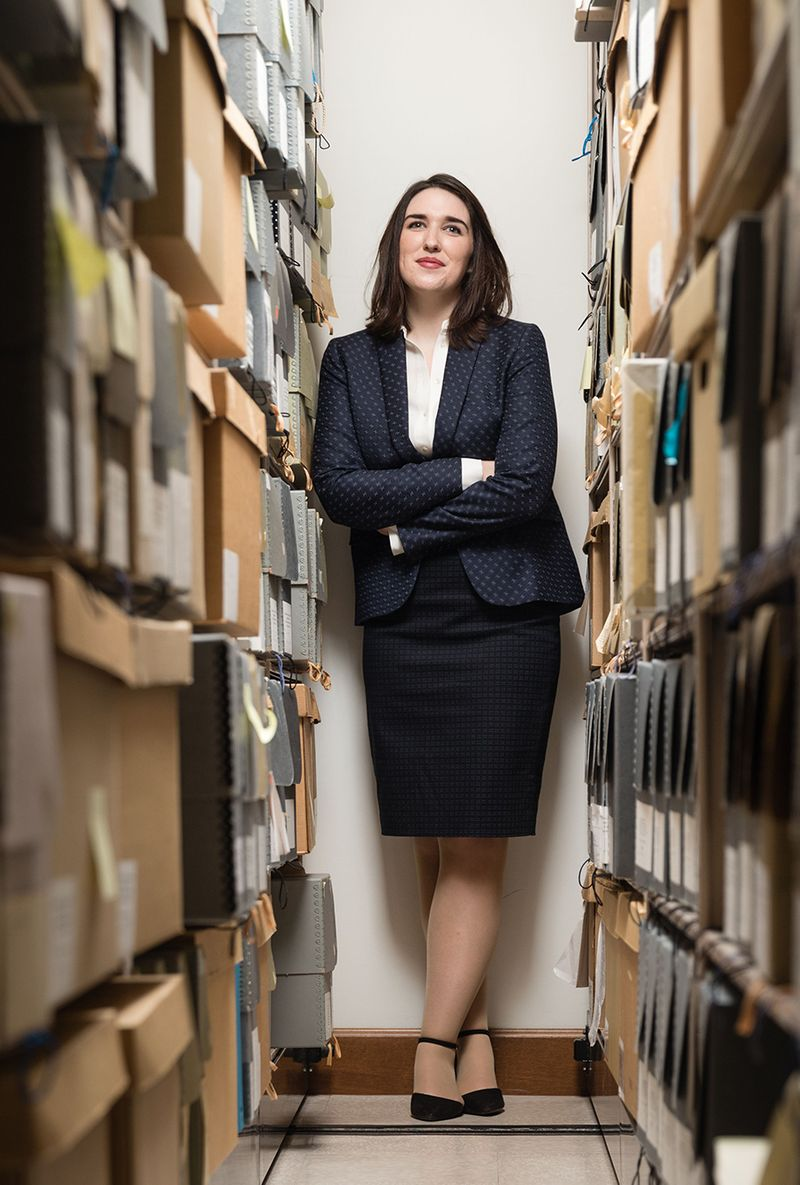 Rebecca Charbonneau poses for a portrait in the Rollins College archives