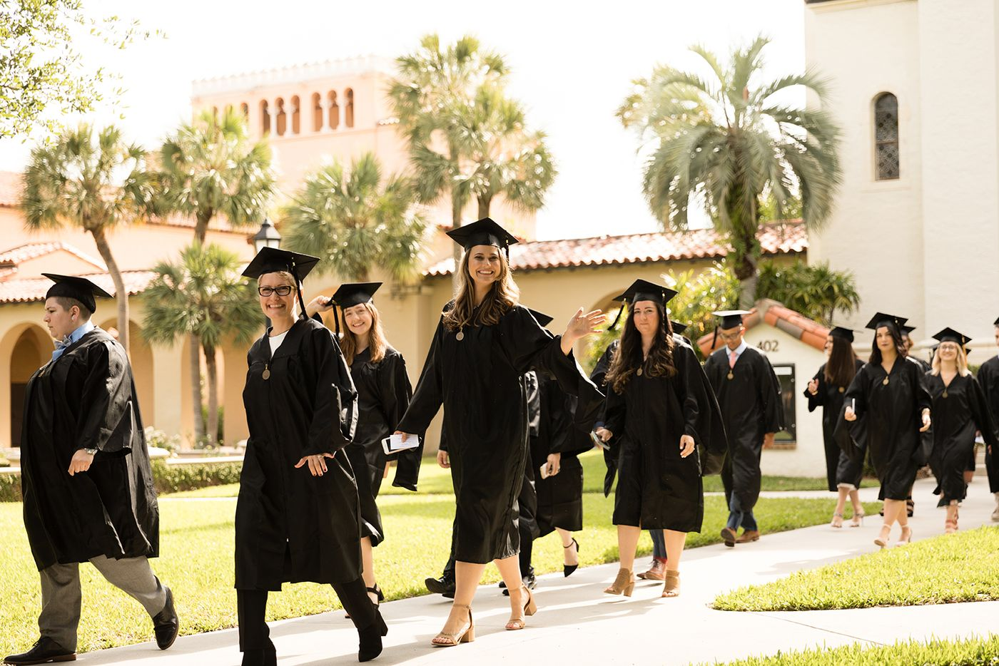 Hamilton Holt students in their commencement attire.