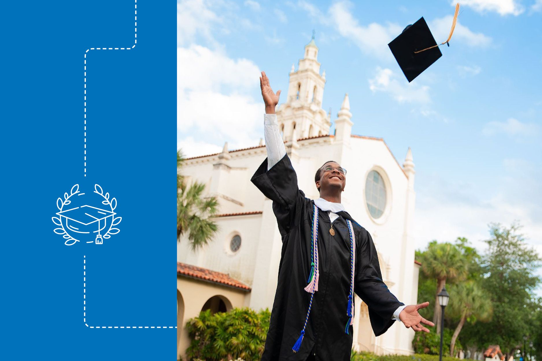 Brandon McNichol tosses his cap in the air at graduation.