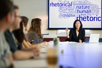 English professor Martha Cheng giving a lesson in a master's of liberal studies class.