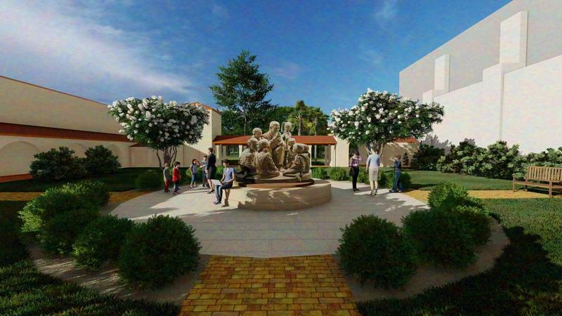 A rendering depicting a sculpture of Fred Rogers at Rollins College.