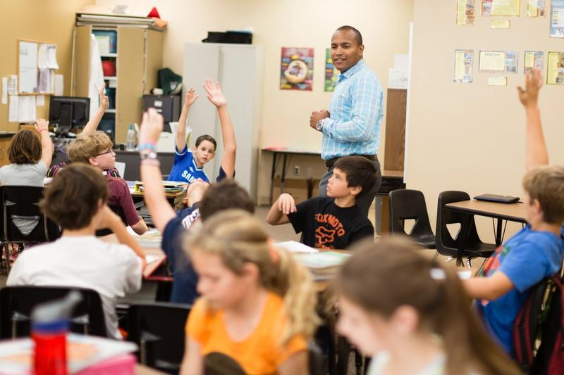 A master's of teaching student during his classroom internship at a local elementary school.