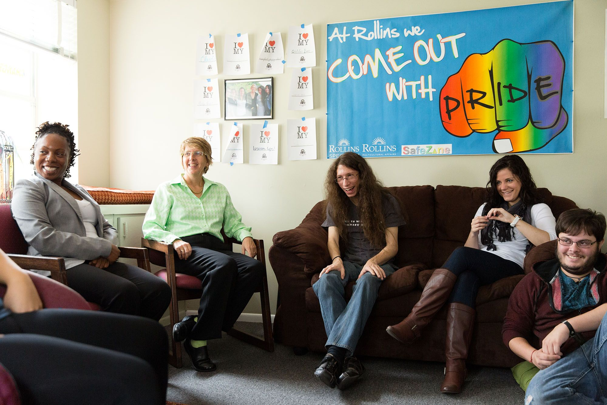 Students engage in discussion about LGBTQ rights at Rollins' Lucy Cross Center.