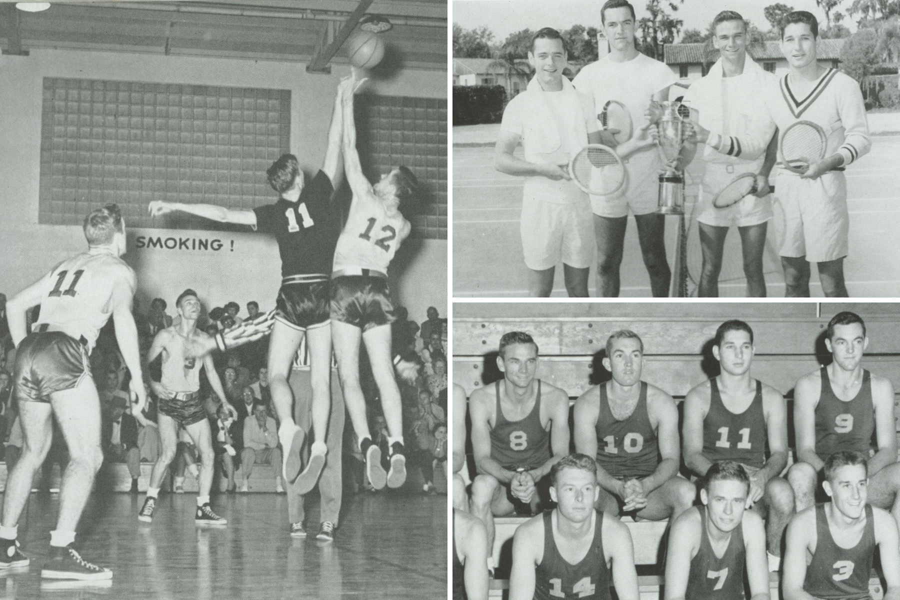 Pictures of Frank Barker '52 '06H's time at Rollins on the basketball and tennis teams.