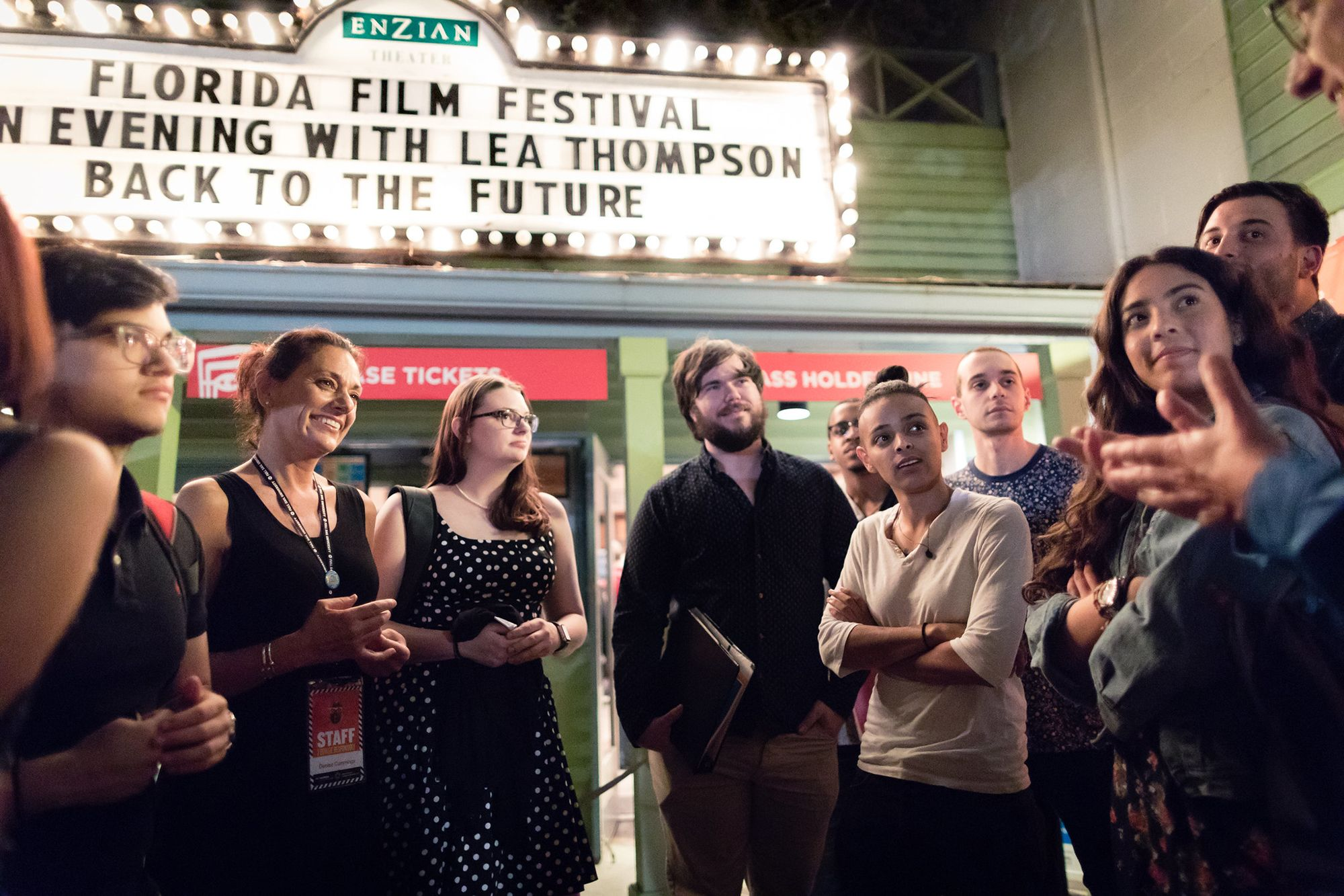 A group of students attends the Florida Film Festival at the Enzian Theater.