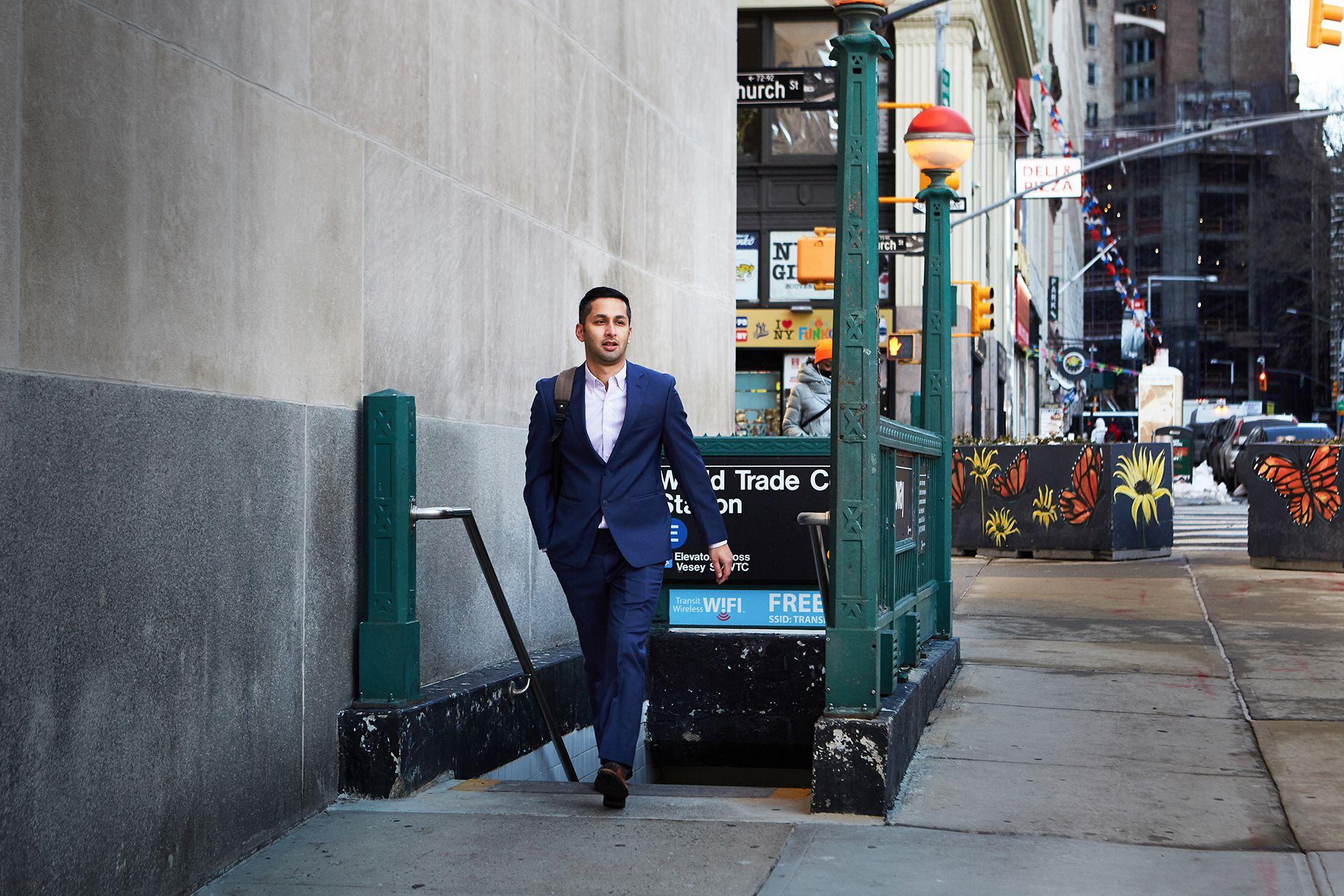Aditya Mahara '12 exiting the subway at the World Trade Center station in New York City.