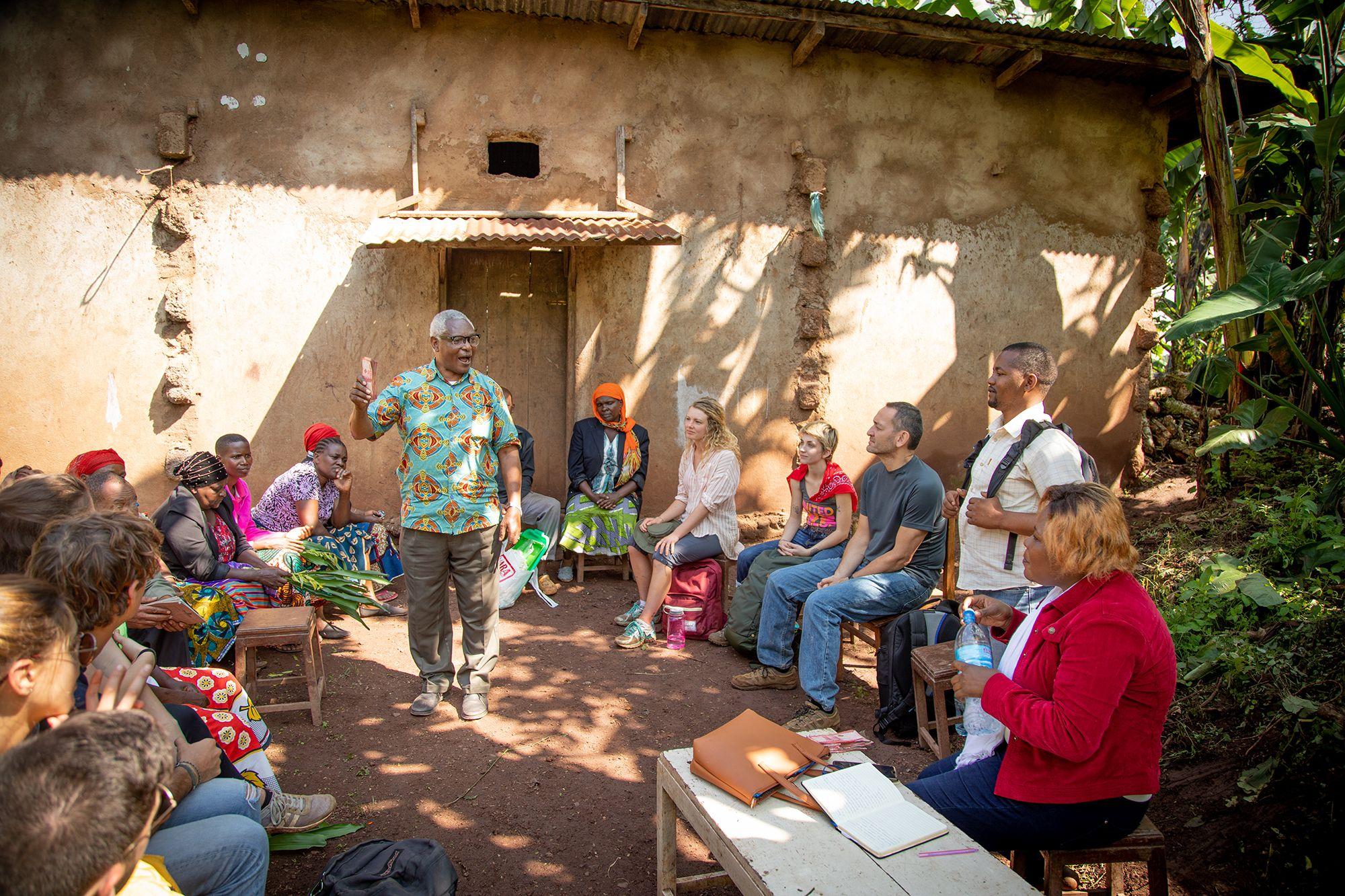 Students meet with local community leaders in Kenya.