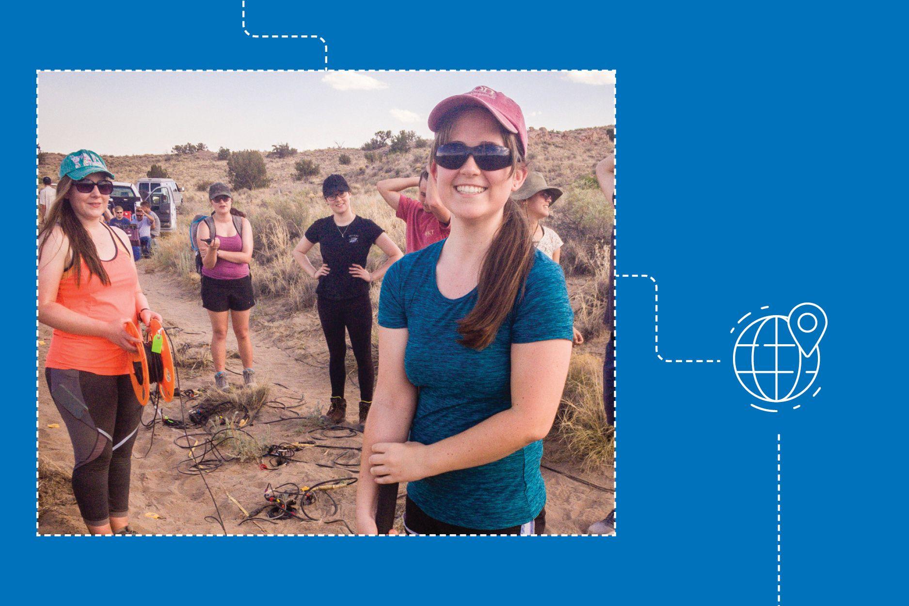 Lauren Neldner conducts fieldwork as part of her National Science Foundation internship.