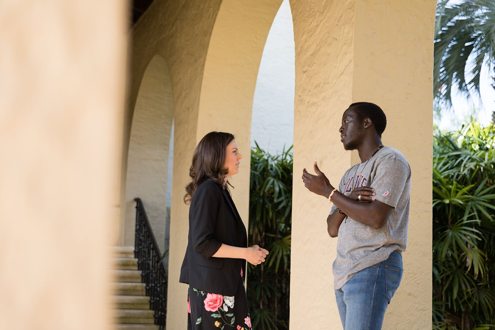 Mo Coffey '08 and Isaac James '19, a Rollins graduate and Rollins student, discuss public policy careers.