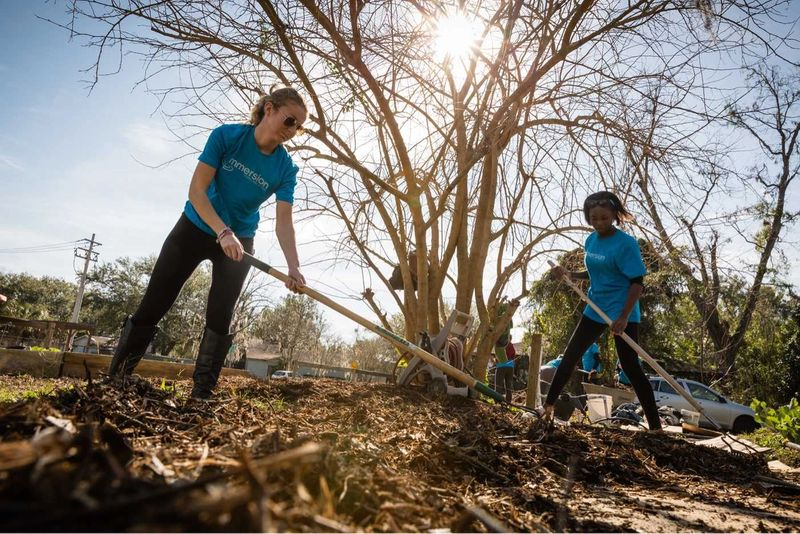 Rollins students raking leaves.