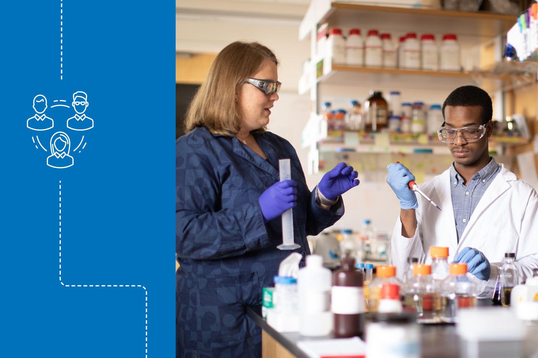 Brandon McNichol conducting research in a lab with chemistry professor Kasandra Riley.