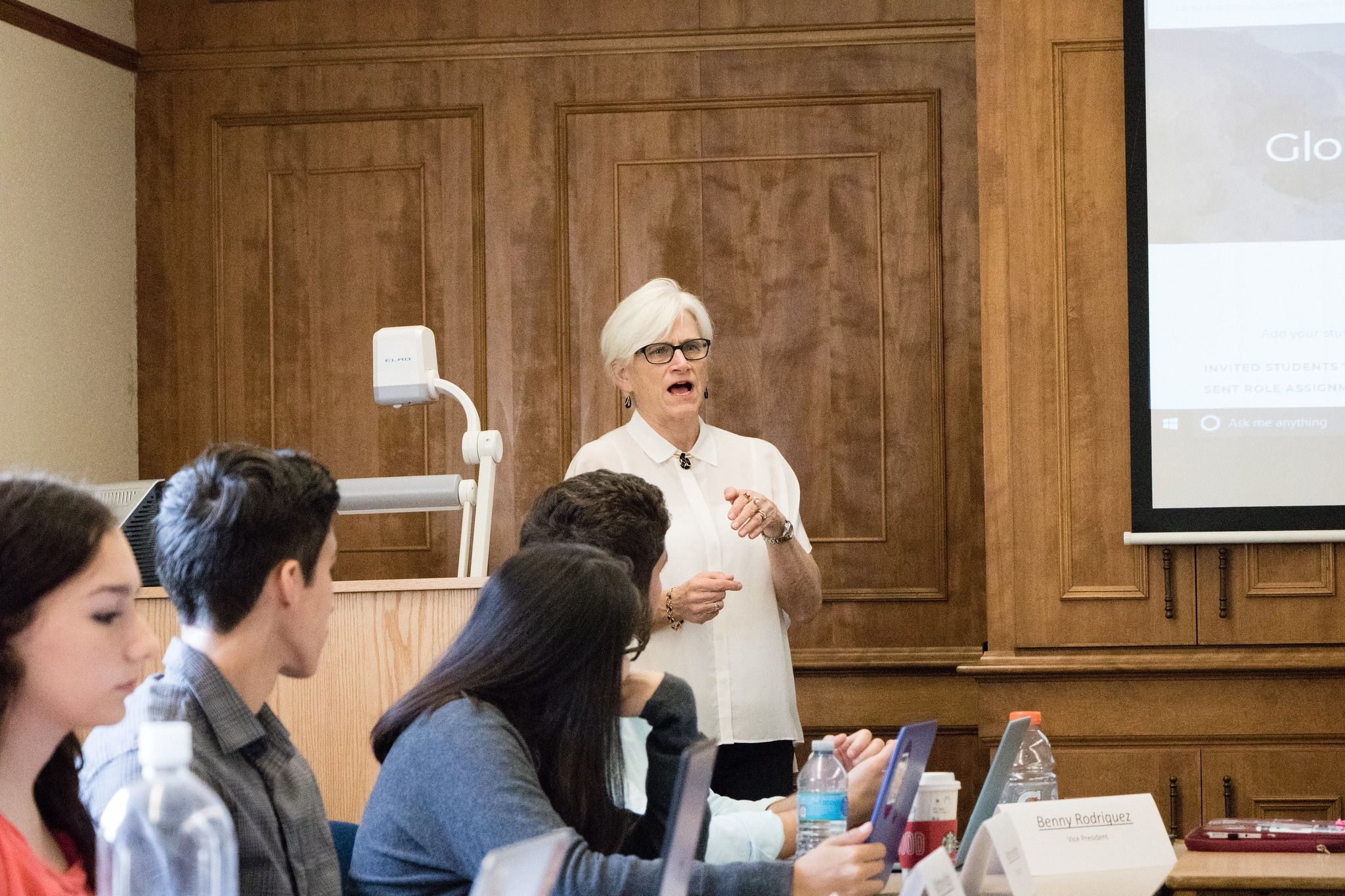 Political science professor Joan Davison facilitates a simulation of the U.S. National Security Council during her Globalization RCC course.