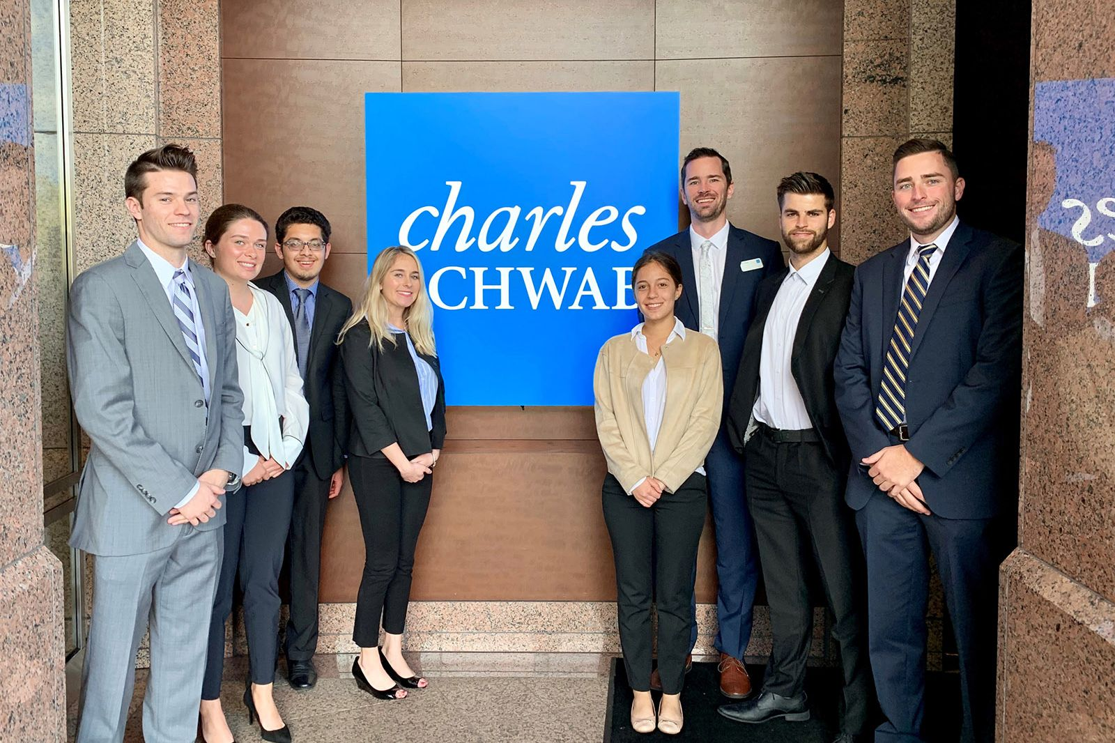 Rollins Students visit Charles Schwab offices.