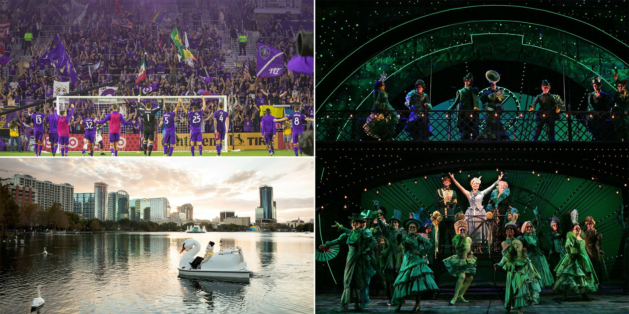 The Dr. Phillips Center for the Performing Arts, Lake Eola, and Orlando City Soccer stadium