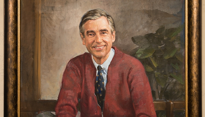 A painting of Fred Rogers that hangs in the Tiedtke Concert Hall.