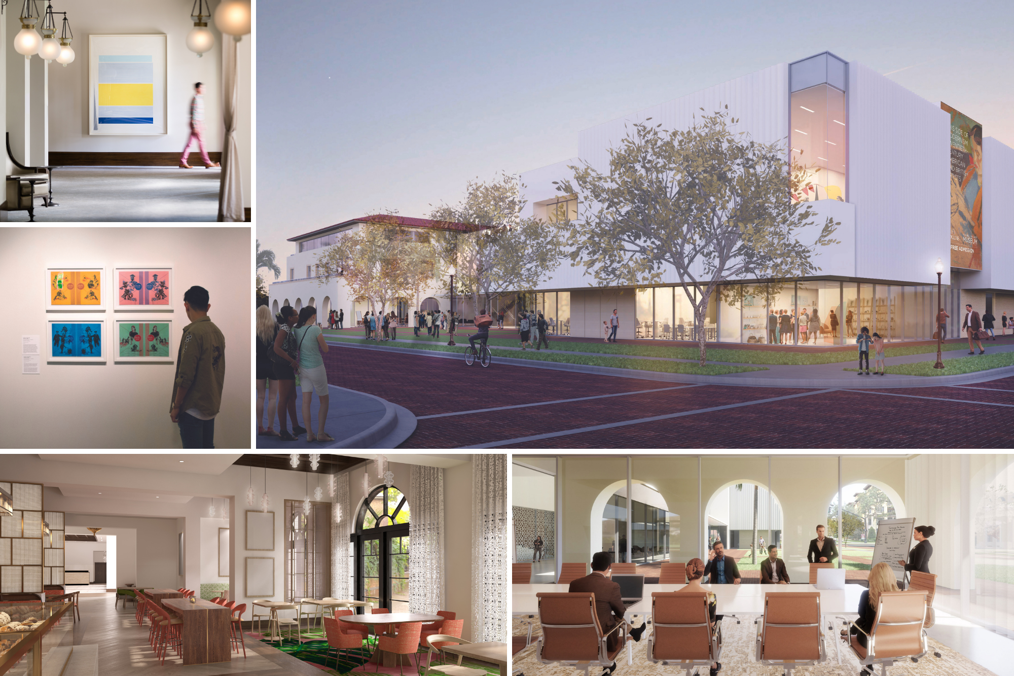 Renderings of the Rollins Museum of Art, Alfond Inn expansion, and new Crummer Graduate School of Business conference room