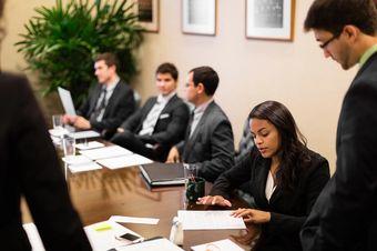 Students in an international business class.