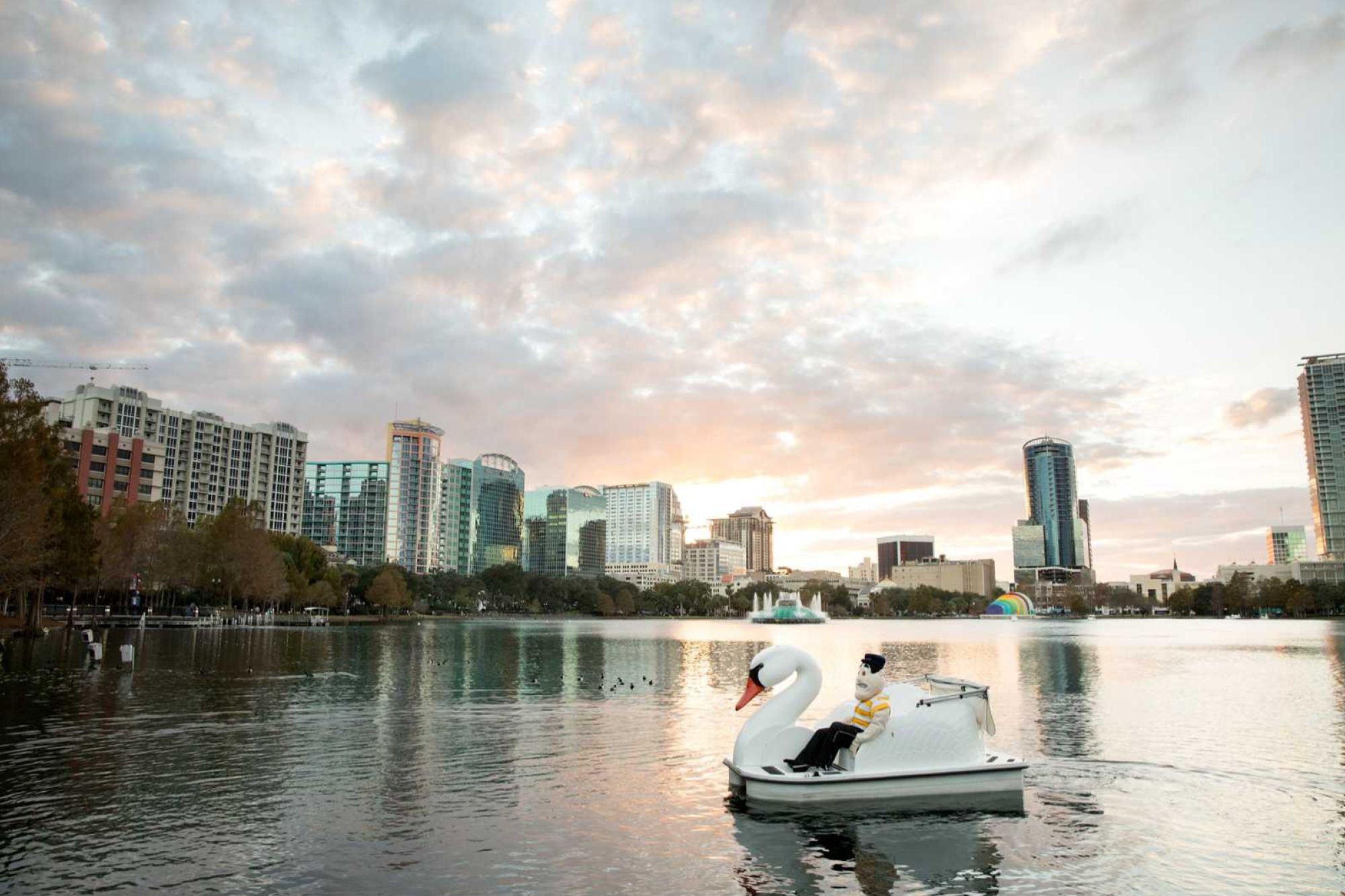 Tommy Tar the Rollins mascot enjoys a paddle around Orlando's Lake Eola in an iconic swan boat.