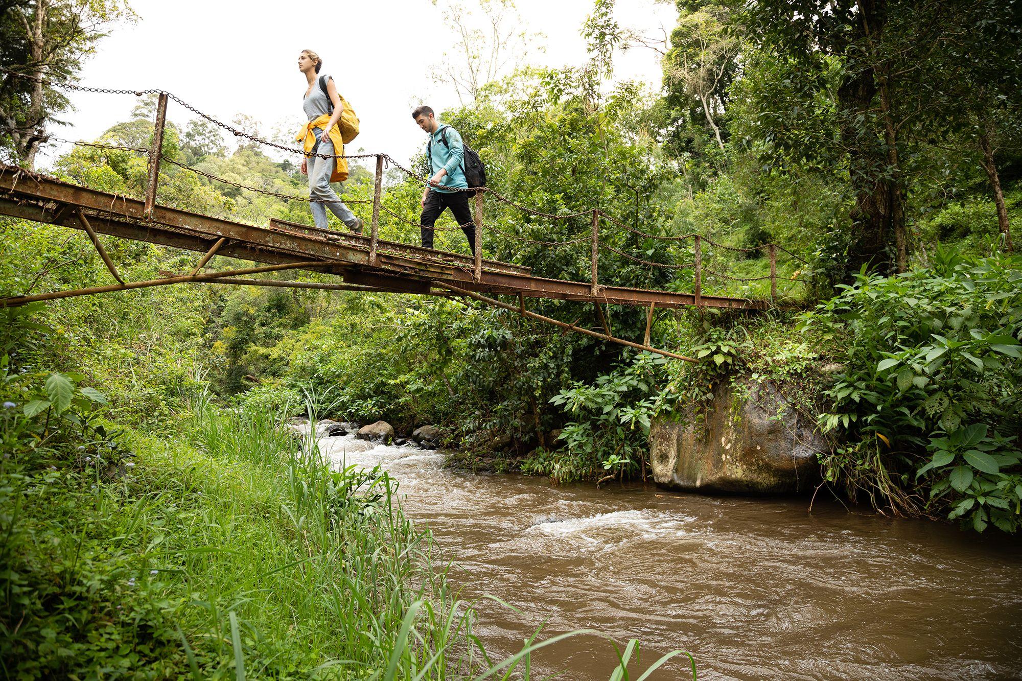 Students crossing a bridge on a field study in Tanzania.
