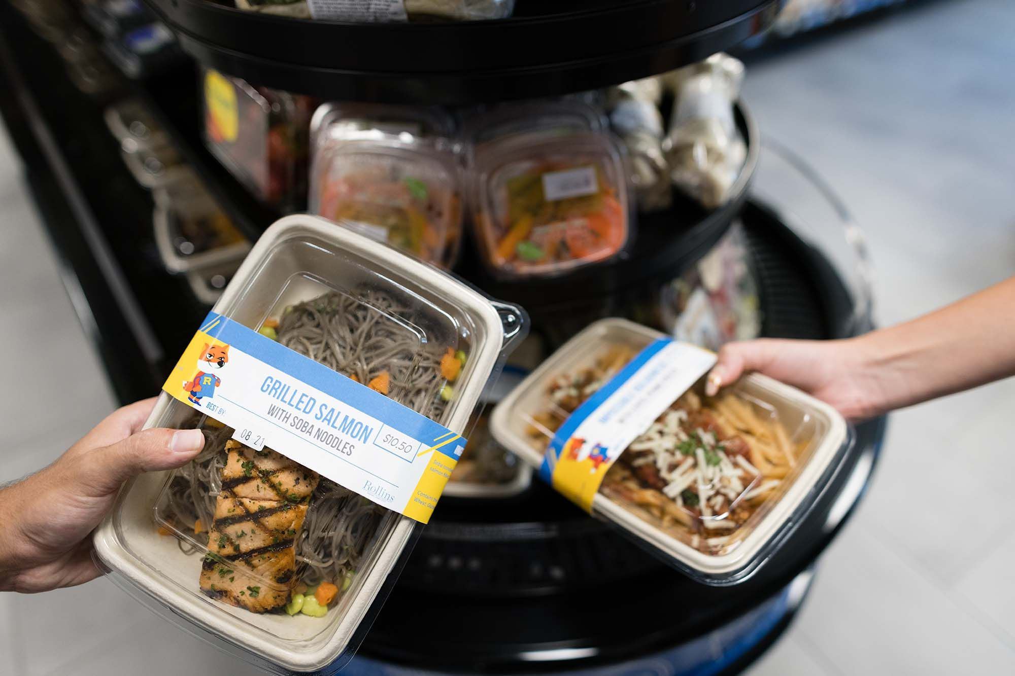 The grab and go station features ready-made Blue and Gold Apron meals