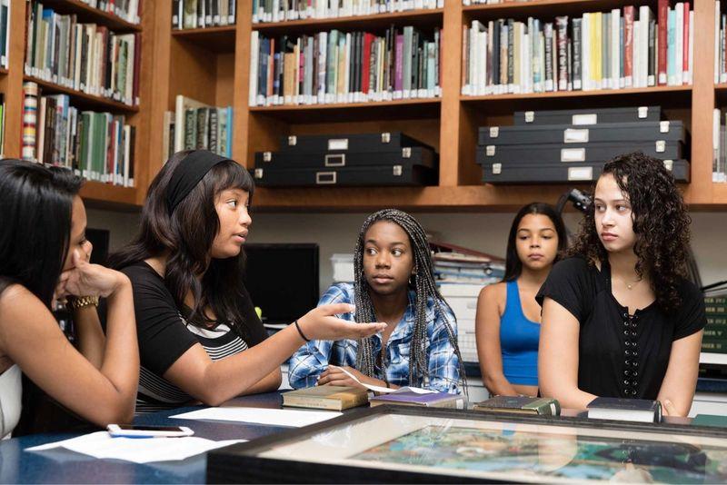 Students in a seminar in Cornell Fine Arts Museum.
