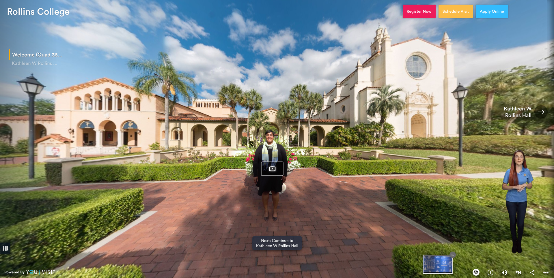 A screen grab from Rollins' virtual campus tour.