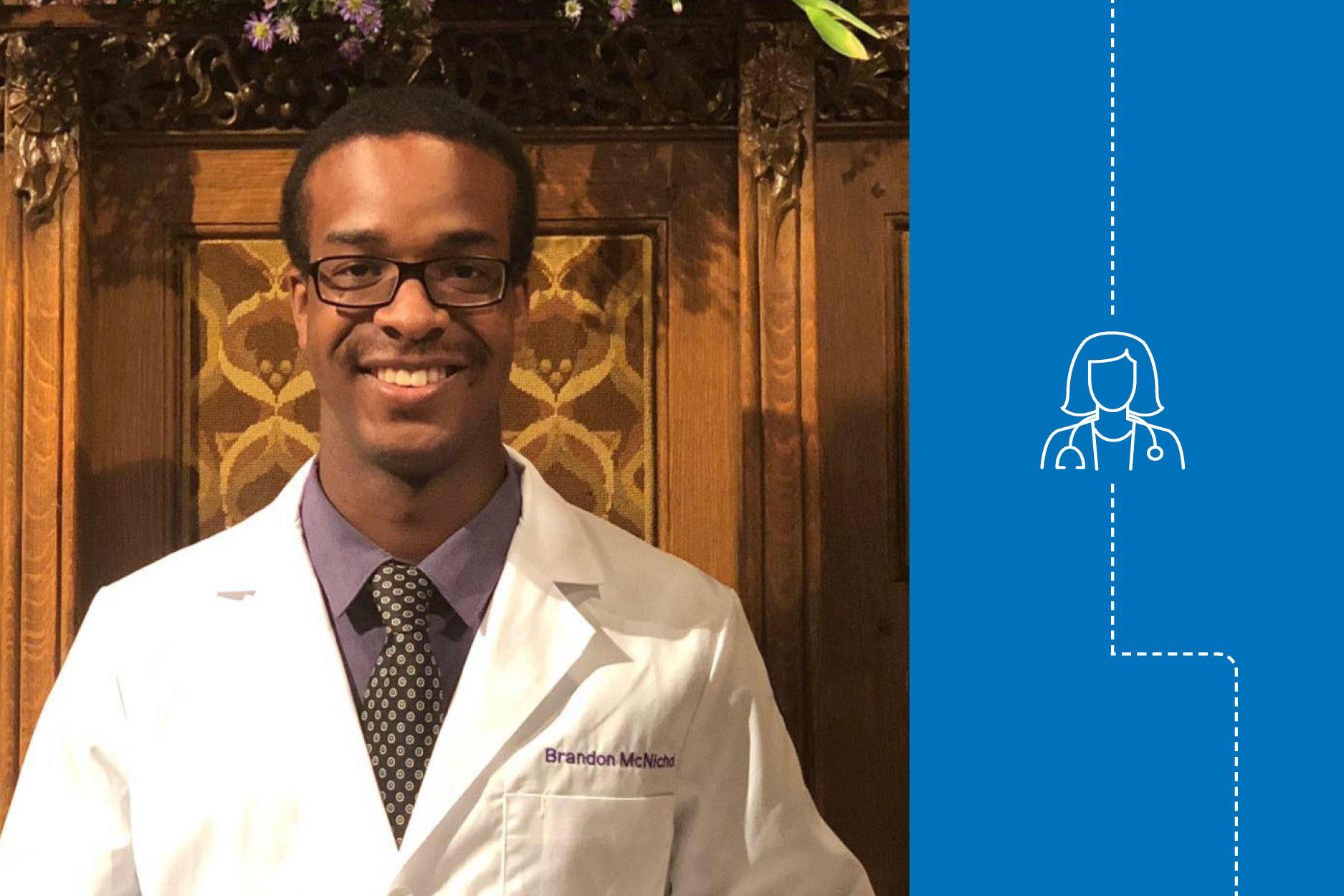 Brandon McNichol pictured in his lab coat.